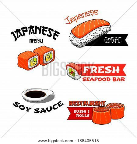 Sushi bar or Japanese seafood restaurant vector icons. Isolated symbols set of sushi or sashimi with salmon fish and tempura rolls with tuna on steamed rice with nori seaweed and soy sauce