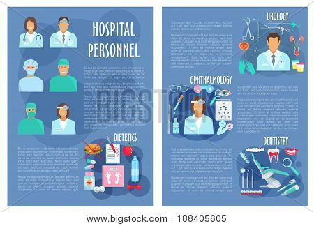 Hospital doctors poster for medical personnel of urology, dietetics healthcare, dentistry and ophthalmology. Vector physician staff and medicines for eyes, tooth implant, syringe and diabetic pills
