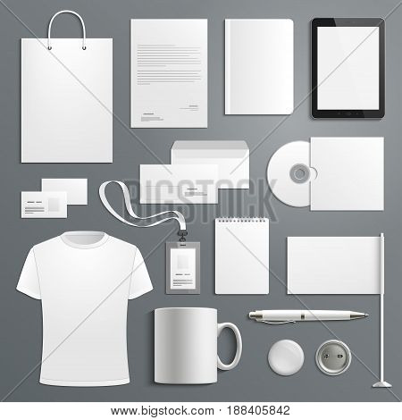 Corporate identity business items. Vector icons of supplies and office stationery, business card, t-shirt and envelope or paper bag, mug and id badges or notepads, pen and flag