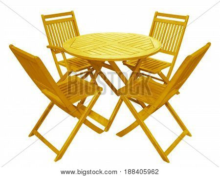 Yellow wooden table and chairs isolated on white with Clipping Path