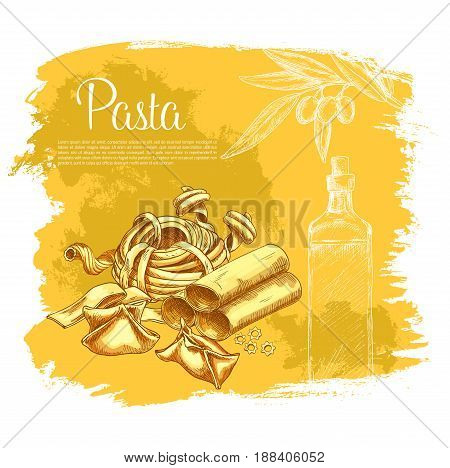 Pasta poster for Italian cuisine or restaurant. Vector spaghetti variety of ravioli and farfalle or kanelone, funghetto and pappardelle or and tagliatelle, lasagna and bucatini or konkiloni