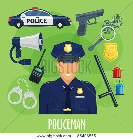 Policeman profession with police guard supplies or accessories. Vector gun, rubber bat and bracelets or handcuff, walkie-talkie radio set and car light signals, cop megaphone and sheriff badge