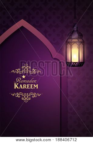 Islamic design mosque door and mmoroccan lanterns lanterns greeting background in blue Ramadan Kareem vector
