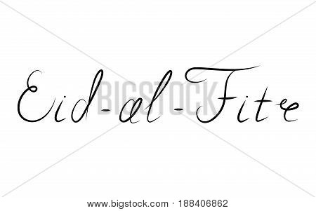 handwritten Eid-al-Fitr retro label. lettering composition of muslim holy month