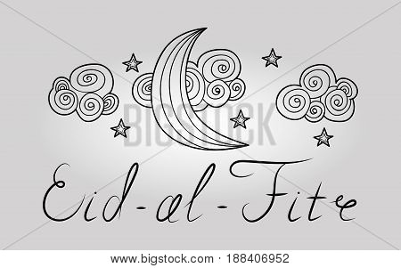 Card with black moon on white for greeting with finishing of fasting month Ramadan, Islamic holiday Eid al-Fitr.