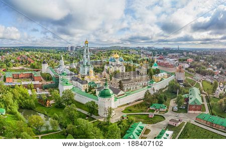 Trinity Lavra of St. Sergius - panoramic aerial view in Sergiev Posad Moscow oblast Russia