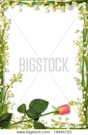 Love letter frame made from flowers Vertical conceptual background