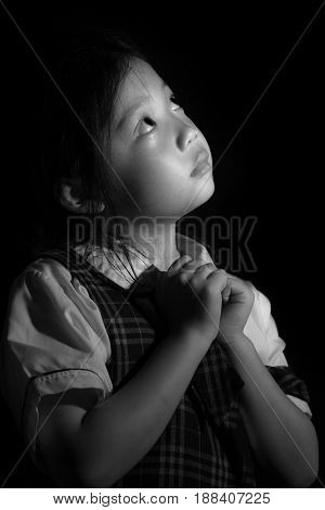 Sad And Lonely Kid, Asian, In Black And White