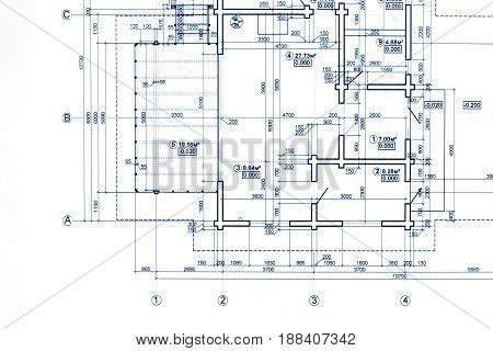 Part Of Blueprint Floor Plan. Architectural Drawing Background.