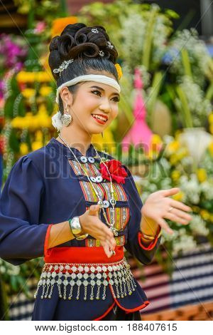 NAKORN PHANOM THAILAND - FEBRUARY 14 2015: Thai northeastern dance in Phutai world event day in Renunakorn of Nakorn Phanom Thailand