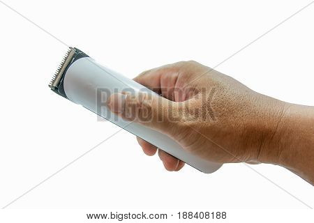 Hairclipper hands on a white background .isolated