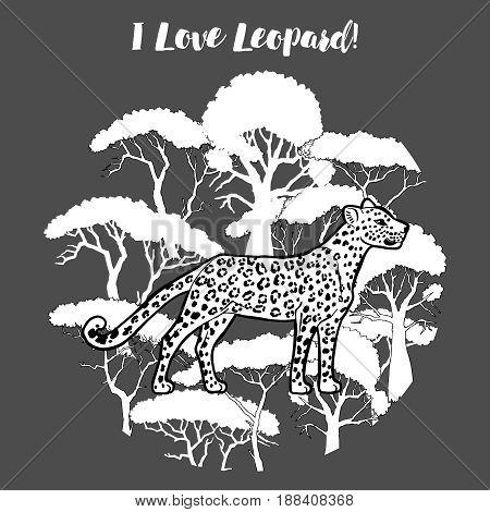 Leopard and savanna trees print. Hand drawn sketches. Vector Illustration
