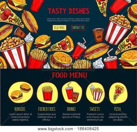 Fast food restaurant landing page or web site design. Vector burgers and sandwiches, pizza, hotdog and cheeseburger, popcorn and fastfood chicken grill, french fries or ice cream dessert and drinks