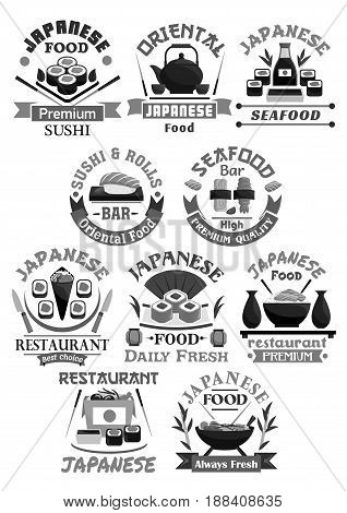 Sushi vector icons for Japanese seafood restaurant or menu design. Vector symbols of sushi rolls and salmon fish sashimi, noodles or miso soups and tempura shrimp with steamed rice and soy sauce