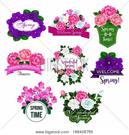 Spring season floral icon set. Springtime floral frame and flower bouquet of rose, peony, crocus, violet and cyclamen with green leaf and bud, adorned by ribbon banner for spring holidays design
