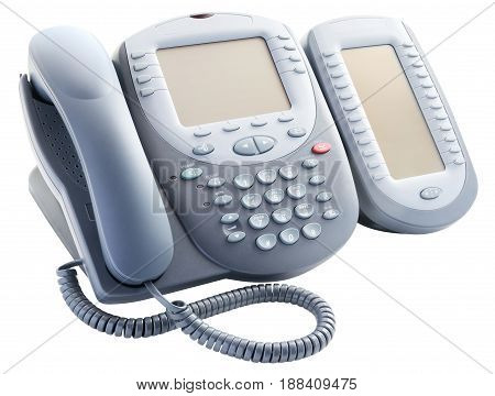 Digital telephone set with expansion button module isolated on the white