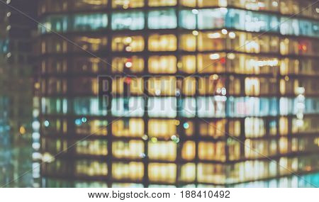 Blurred abstract bokeh background of the city at night