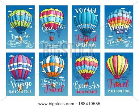 Hot air balloon tour or voyage posters or travel cards set. Vector sketch design of inflated hopper balloons with pattern decor of zig zag, stripes or square checkered patch for summer vacations