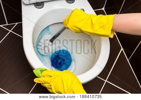 Woman Is Cleaning Toilet Bowl Using Brush