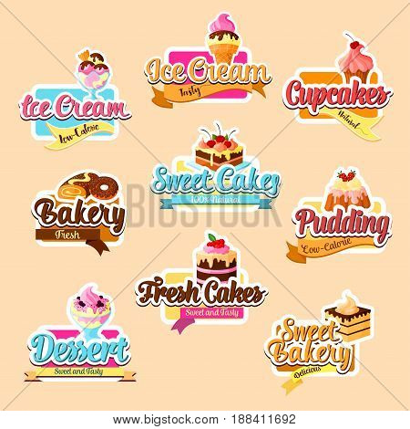 Desserts vector stickers for bakery shop. Vector isolated set of pastry sweets and patisserie cakes, chocolate brownie biscuit, ice cream and cupcakes or cookies, tiramisu or roll tortes and waffles