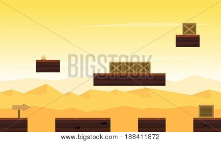 Collection stock desert landscape game background illustration