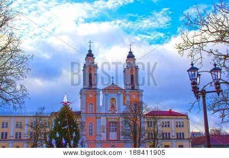 Old church of St. Francis Xavier in old town. Kaunas at Lithuania