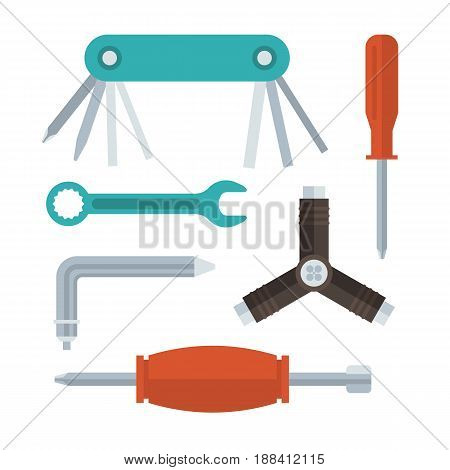 Keys, screwdrivers and wrenches set in flat design. Bike, scooter or skates repair tools. Screw driver, multitool, hex key and spanner.