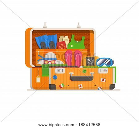 Summer travel suitcase stuffed with  vacation clothes and things for summertime holidays. Opened full suit case with stickers. Overstuffed yellow luggage concept vector illustration in flat design.