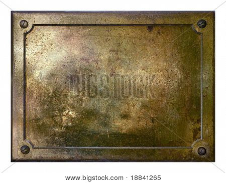 Brass yellow metal plate framed background texture
