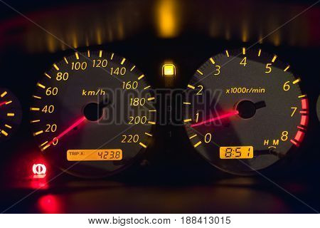 Car Instrument Panel That Mean The Car Speedometer,