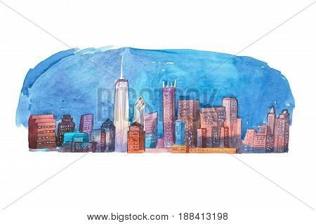 Watercolor drawing cityscape night city aquarelle painting