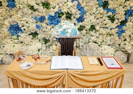 altar with a bouquet of flowers for a holy matrimony wedding