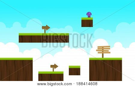 Vector art cloud style game background collection stock