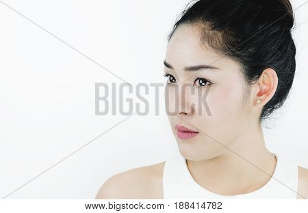Close-up, Beautiful Asian Woman,  on white background with copy space