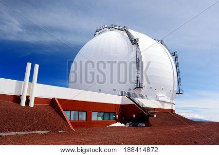 Mauna Kea Observatories On Top Of Mauna Kea Mountain Peak, Hawaii, Usa
