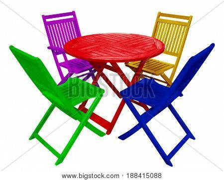 Colorful wooden table and chairs isolated on white with Clipping Path