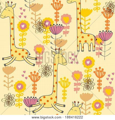 Vector drawn seamless floral pattern with giraffe