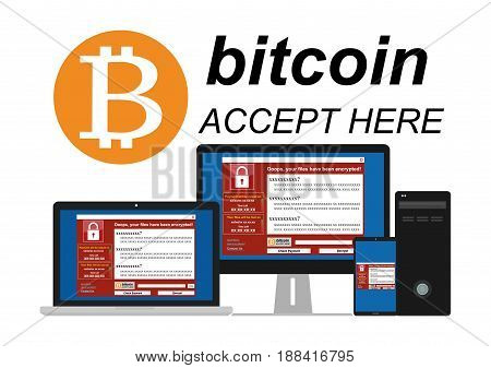Malware Ransomware wannacry virus encrypted files and show massage for bitcon payment on laptop computer PC display and mobile device screen. Vector illustration cybercrime and cyber security concept.