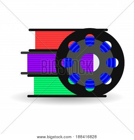 vector flat spool for 3D printer, plastic for 3D printer, red, blue, purple, green
