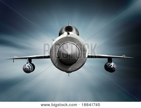 Mikoyan-Gurevich MiG-21 Russian supersonic jet fighter aircraft. Isolated with clipping path.