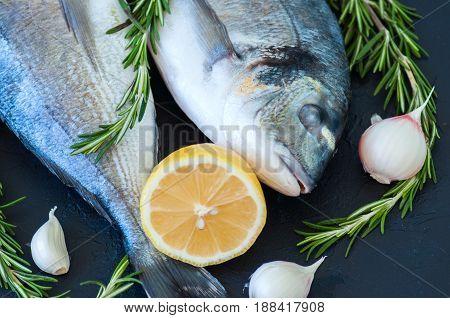 Fresh Raw Dorado Fish With Rosemary, Garlic And Lemon On A Black Slate Background. Selective Focus.