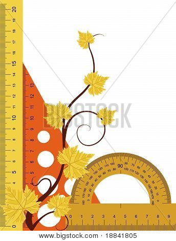 Ruler, protractor and triangle with simulated transparency.