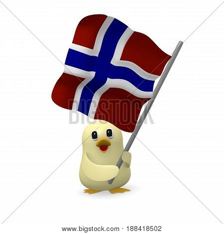 Funny bird with the flag of Norway 3d rendering