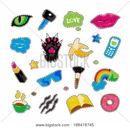 Fashion patch badges with lips cat paw cat eye and other elements. Colorful graphics in hand drawings style. Isolated on white background