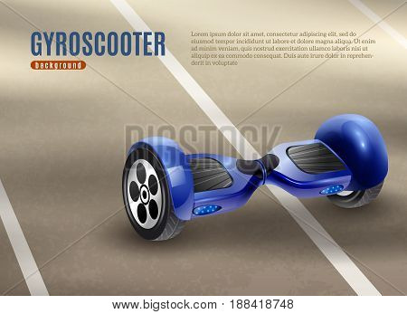 Realistic self-balancing gyro two-wheeled board scooter or hoverboard dark blue with road background poster vector illustration