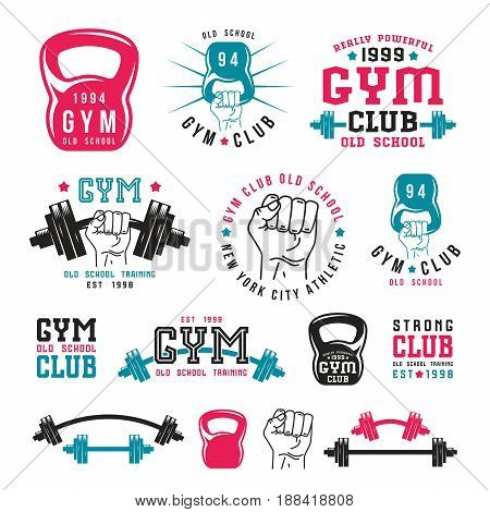 Stock vector illustration of gym club emblems and design elements. Color print on white background
