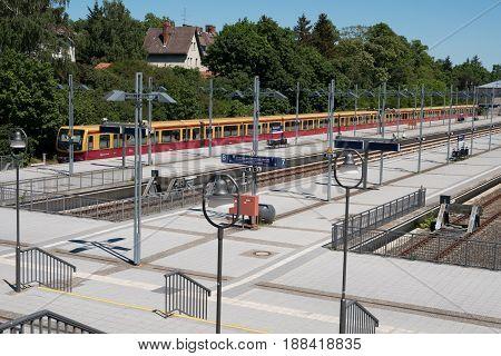 S-bahn Train At Terminal Train Station Olympiastadion  (olympic Stadium) In Berlin,