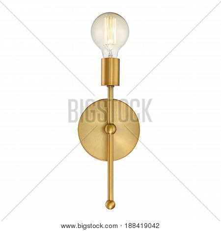 Wall Sconce Isolated on White Background. Metal Bronze Light Fixture with LED Bulb. Front View poster