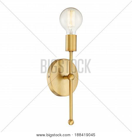 Wall Sconce Isolated On White Background. Metal Bronze Light Fixture With Led Bulb