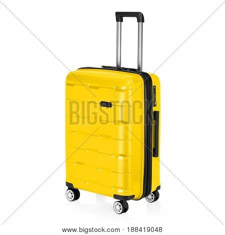 Yellow Trolley Luggage Bag Isolated On White Background. Vip Trolley Bag. Trolley Travel Bag. Spinne